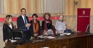 PALAZZO MARINO, Milan 2017 - From the left: Silvia Muciaccia, curator - Beppe Sala, Mayor of Milan - Anna Santinello, sculptor - Diana De Marchi, President of Equal Opportunities Commission - Silvia Vegetti Finzi, writer